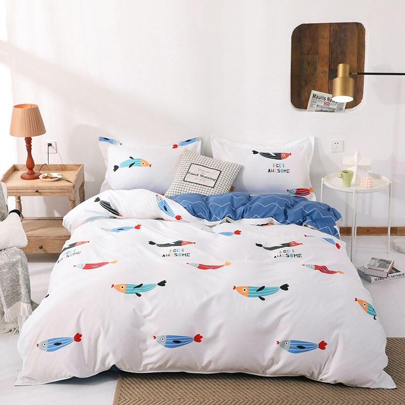 Juego de cama para niños, juego de edredón con Gato de estrella de pez, juego de sábanas para niños de 3/4 uds, ropa de cama de lino, ropa de cama para niños y niñas, textil para el hogar completo
