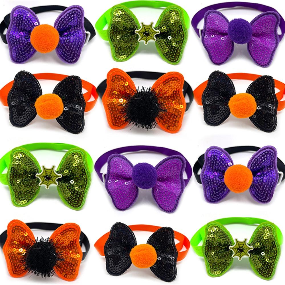 50/100pcs Halloween Pet Dog Accessories Small Dog Cat Bow Tie Neckties Dog Supplies Pet Dog Collar H