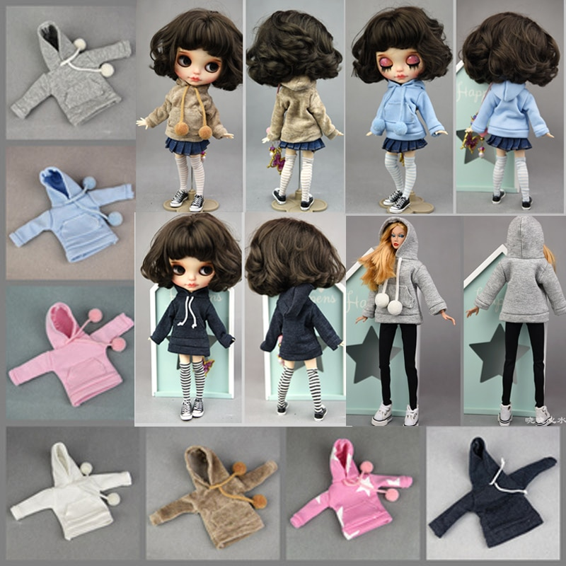 Doll Clothes Hooded Sports Hoodie For Blythe Doll Casual Sweater Top Outfits Fit Blyth 1/6 Doll Christmas Girl`s Toy Accessories недорого