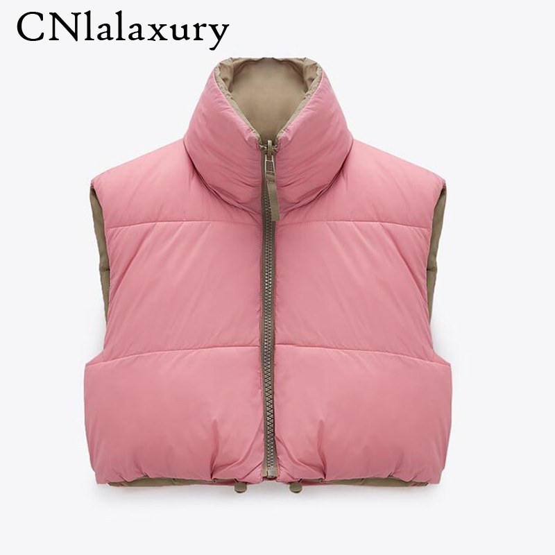 New Spring Stand Collar Cropped Vests Women Elegant Solid Zipper Sleeveless Coats Women Casual High