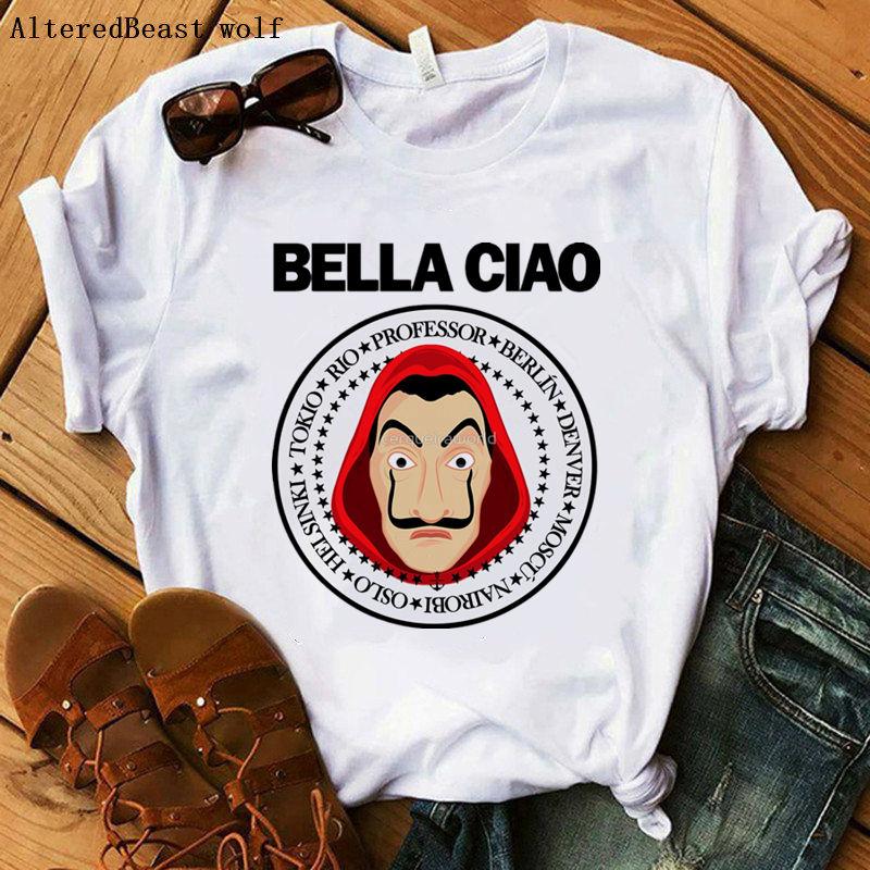 La Casa De Papel Женская Футболка Harajuku BELLA CIAO с буквенным принтом, короткий рукав, забавные деньги, дом папера, хип-хоп топы, футболки