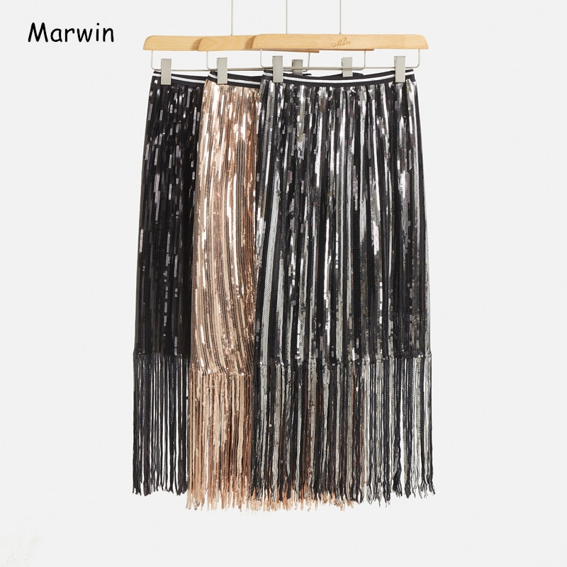 Marwin 2020 ربيع جديد القادمة الصلبة شرابة الترتر مستقيم منتصف العجل الإمبراطورية عالية نمط الشارع النساء التنانير التنانير عطلة الحفلات