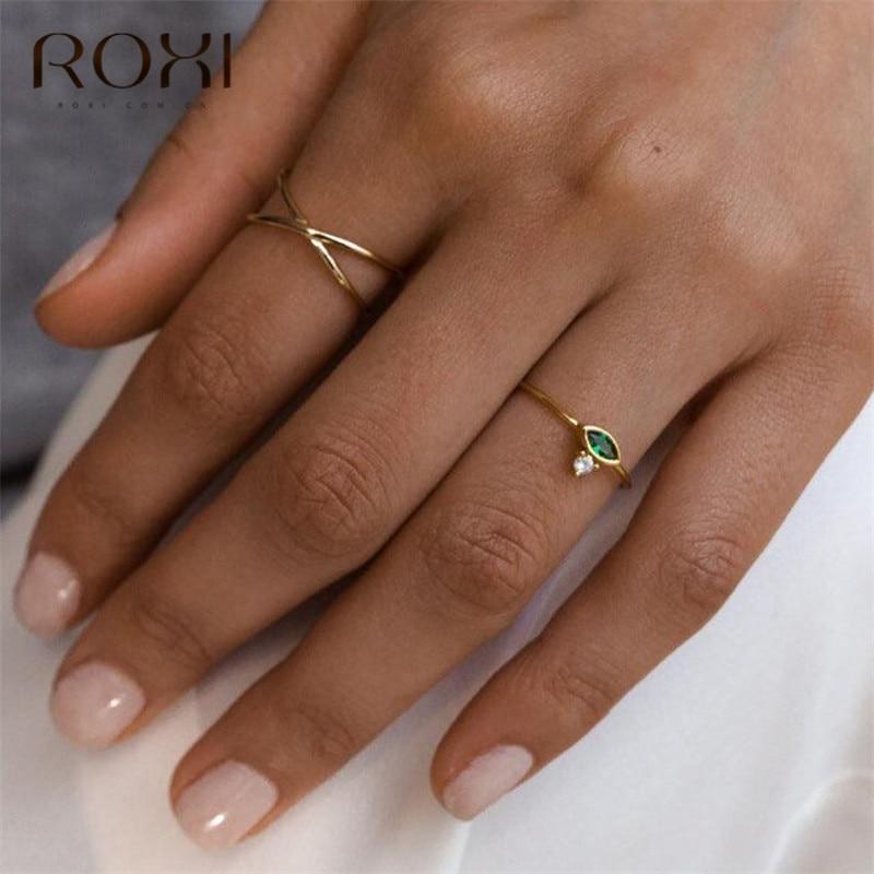 ROXI кольца из стерлингового серебра 925 для Для женщин лошадиный глаз зеленый камень свадебные кольца минималистский Тонкий изящный Кристалл ювелирные изделия на безымянный палец
