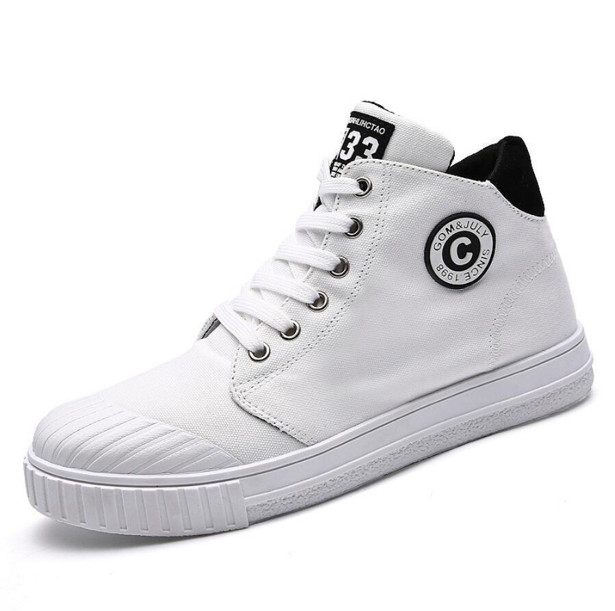 Moda Denim hombres zapatos de lona de alta calidad Blanco hombres zapatillas gruesas 2019 transpirables Plimsolls calzado masculino zapatos planos de hombre con cordones