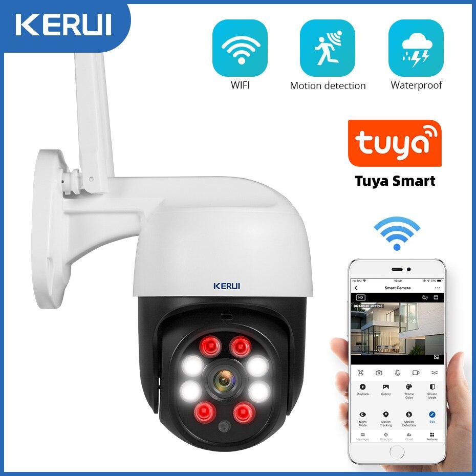 KERUI Tuya 1080P 3MP PTZ واي فاي IP كاميرا لا سلكية في الهواء الطلق أمن الوطن 4X التكبير الرقمي 2MP سرعة كاميرا بشكل قبة CCTV المراقبة بالفيديو