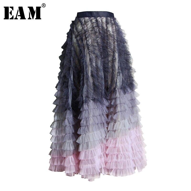 [Eam] cintura alta roxo cor gradual malha divisão temperamento metade do corpo saia feminina moda maré nova primavera outono 2020 1u311