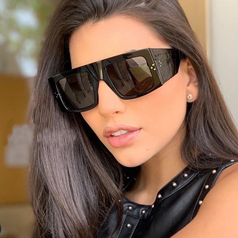 Vintage One Piece Rivet Sunglasses For Women 2020 New Luxury Brand Wide Leg Flat Sun Glasses Men Hip Hop Shades Black Leopard