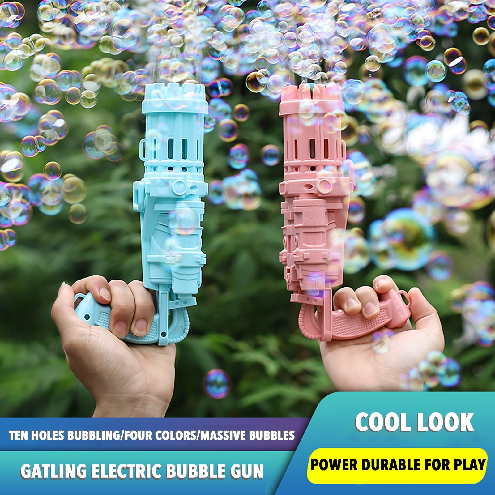 Kids Gatling Bubble Gun Toys Summer Automatic Soap Water Bubble Machine For Children Toddlers Indoor Outdoor Toys Wedding