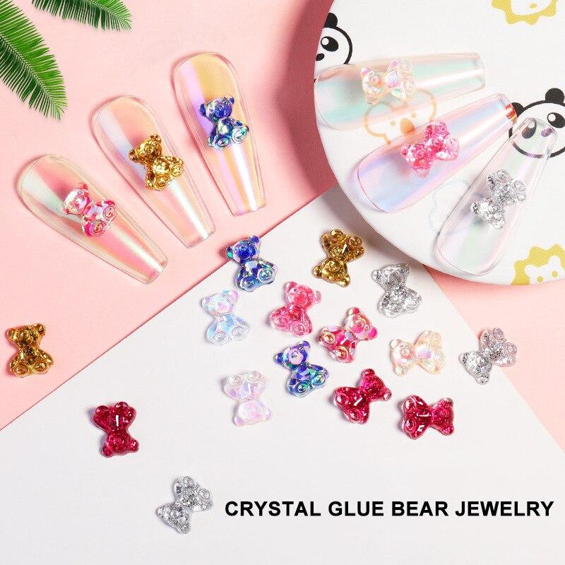 10 Pcs Nail Decoration Bear Jewelry Three-dimensional Sticker Ladies Resin Material DIY Crystal