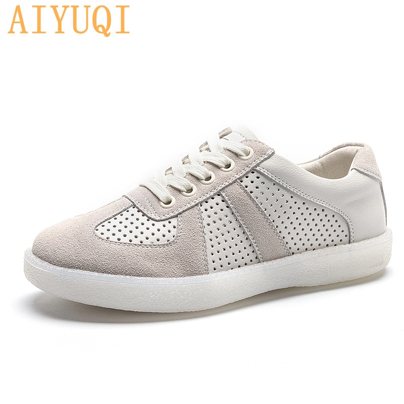 Women's Sneakers Hollow 2021 Spring Summer New Fashion Casual Girl Shoes Genuine Leather Lace-up Flat Large Size Sneakers Women