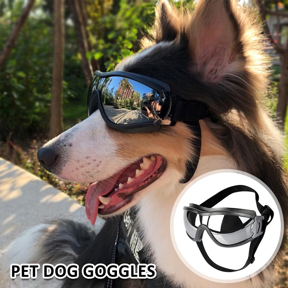 Регулируемые солнечные очки для домашних животных, солнцезащитные очки с защитой от УФ-лучей, водонепроницаемые ветрозащитные солнцезащит...