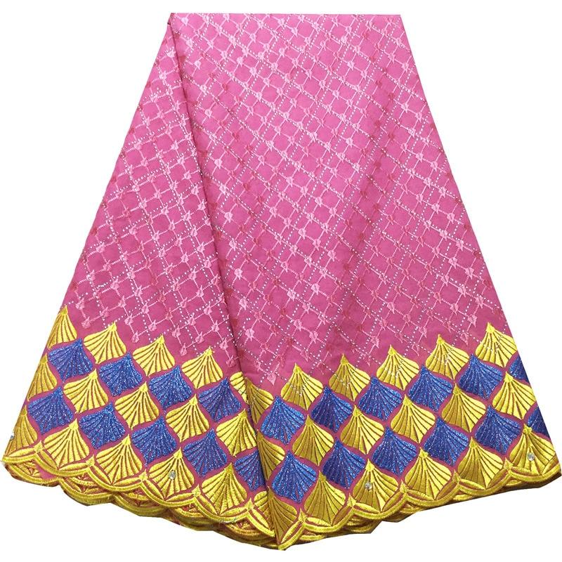Gasa suiza de alta calidad de encaje nigeriano de tela de Dubái de encaje seco africano de algodón Coral 100% en Suiza V552