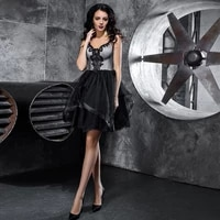 cocktail dresses a line nettulle v neck applique banbage open back sleeveless black high quality fashion 2021 exquisite