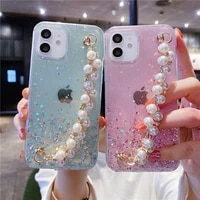 bling glitter pearl brick hang rope phone case for iphone 12 11 pro max mini se2 6 7 8 plus xsmax xr x clear soft silicone cover