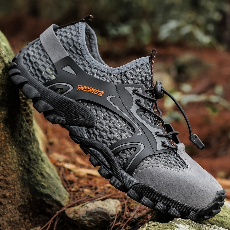 Sandalias de senderismo para hombre, zapatillas de deporte de verano de malla Aqua, zapatillas de senderismo y senderismo, zapatillas de deporte para hombre de talla grande 48, sandalia ascendente