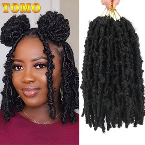 TOMO Butterfly Locs Crochet Hair 12 Inch Distressed Locs Braiding Hair Extensions For Black Women Pre-Looped Synthetic Braids
