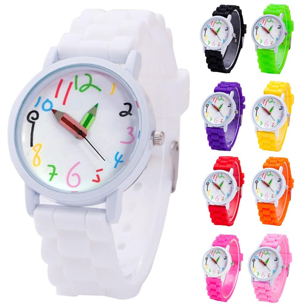 Fashion Children Kids Arabic Numerals Pencil Analog Display Quartz Wrist Watch Display Quartz Wrist