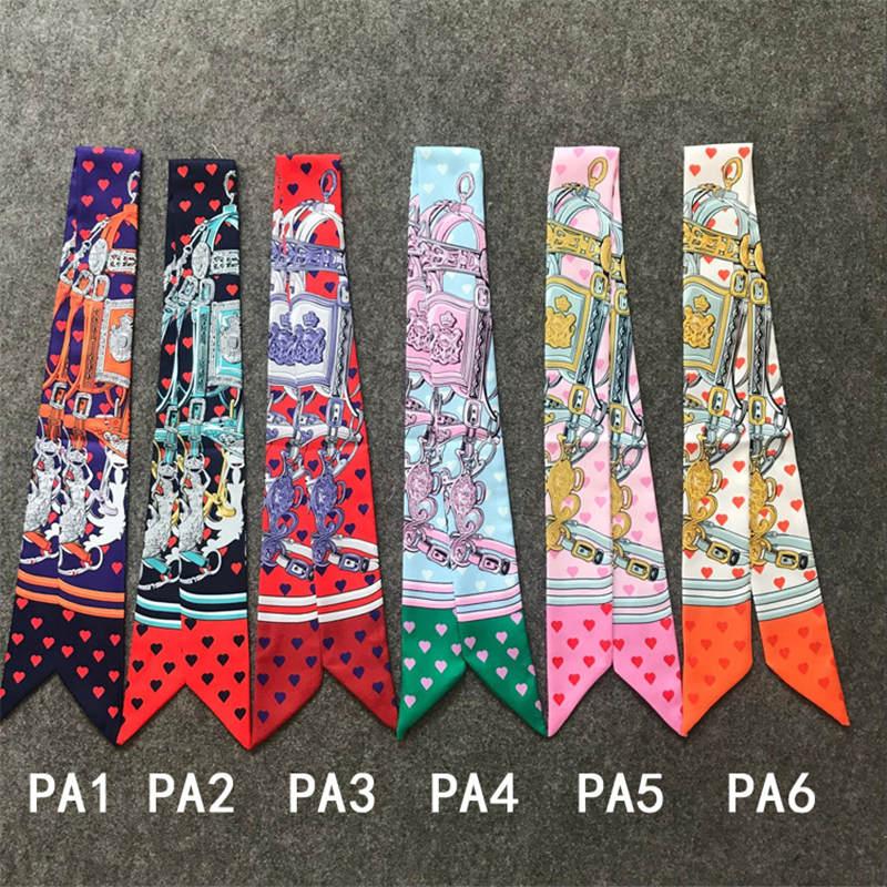 Klassische Marke Tasche Schal Gedruckt Meerjungfrau Liebe Herz Seide Schal Frauen Kleine Band Mode Haar Bänder Handtasche Schals B011