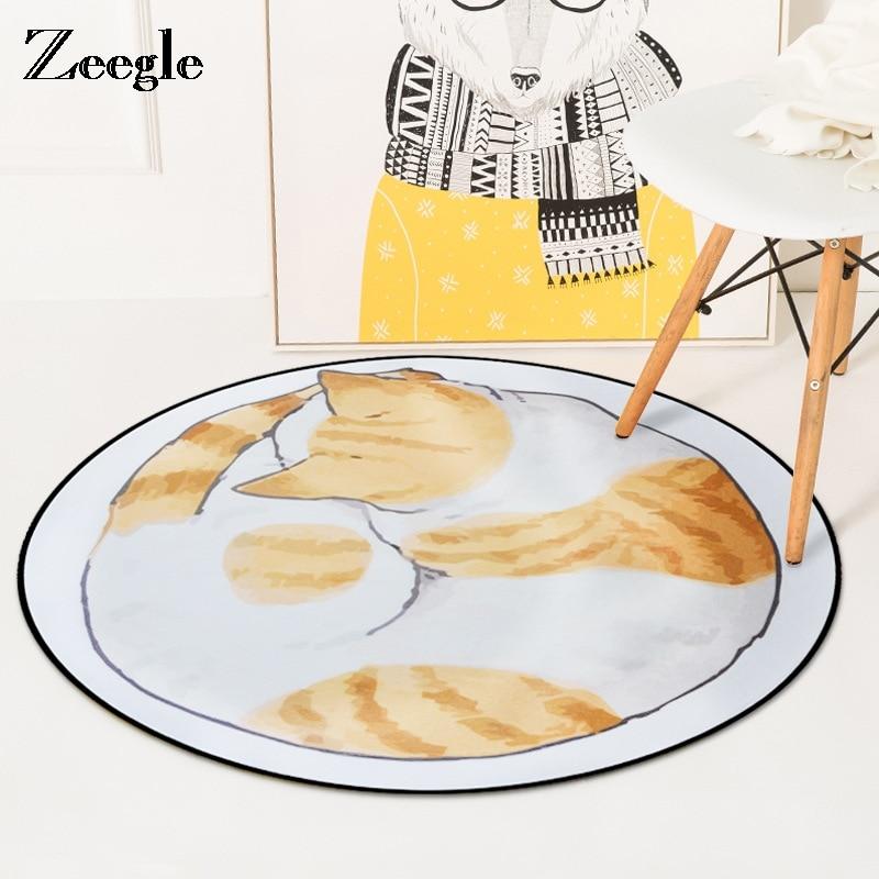 Zeegle-سجادة دائرية مزخرفة على شكل قطة ، إكسسوار دائري لغرفة المعيشة وغرفة الطفل ، غير قابل للانزلاق لغرفة نوم الأطفال