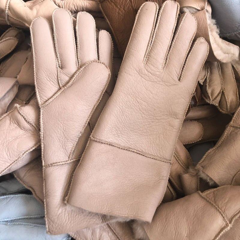 Guante de piel auténtica de oveja, guantes de piel para mujer, invierno cálido con forro de piel de ante