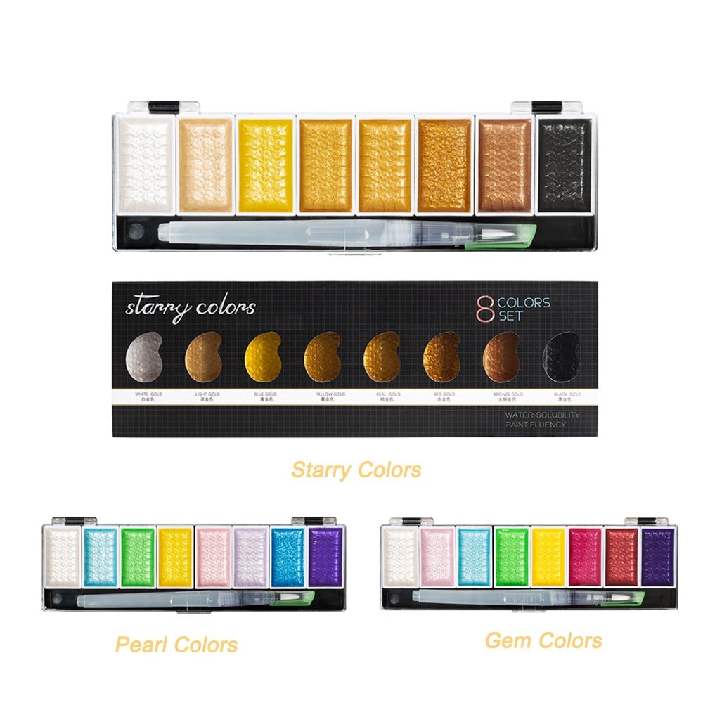 Premium 5/8 cores metálico ouro pigmento pintura conjunto de cor água sólida com waterbrush para pintura aquarelas pintura arte suprimentos