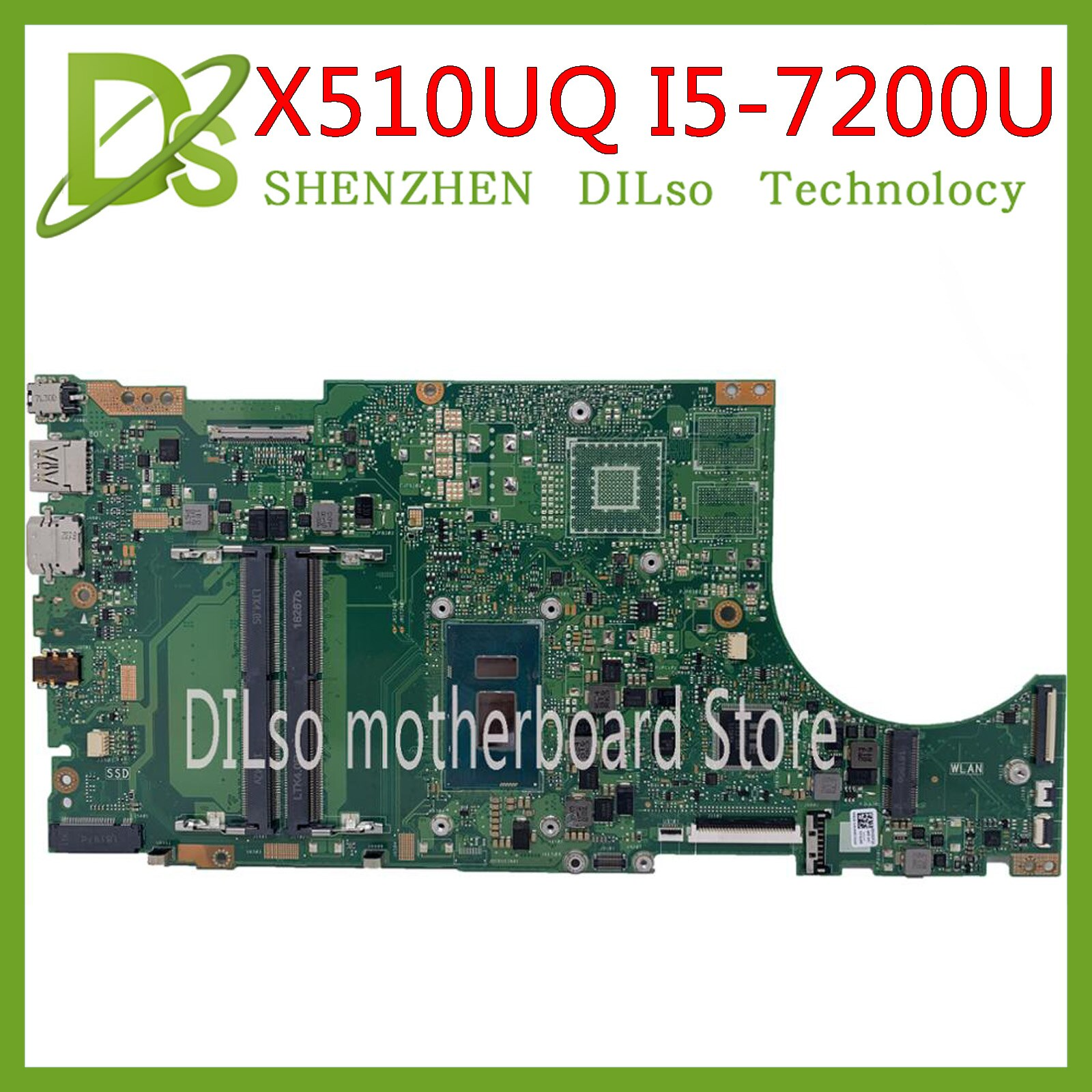 KEFU X510UA اللوحة لابتوب ASUS X550UNR X510URO S5100UR S5100U X510UQ اللوحة I5-7200U 100% اختبار العمل