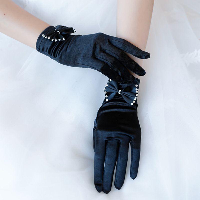 Guantes cortos de satén Vintage para boda lazo de diamantes de imitación 1920s Flapper Party Mitten
