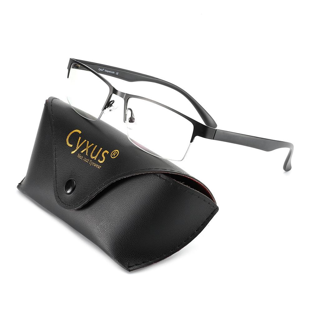 Cyxus-نظارات الكمبيوتر المضادة للضوء الأزرق للرجال والنساء ، إطار معدني ، نصف حافة ، مستطيل ، مضاد للتوتر ، عدسات شفافة