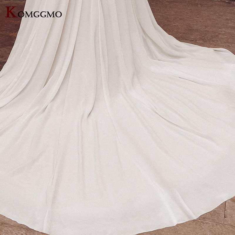 High-End V-Neck Cap Sleeve Embroidery Appliques Tulle A-Line Wedding Dress Custom Made Button Back Chapel Train Bridal Gown