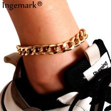 Boho High Quality Cuba Link Chain Anklet for Women Men Ankle Summer Beach Gold Color Shoe Sandals Ac
