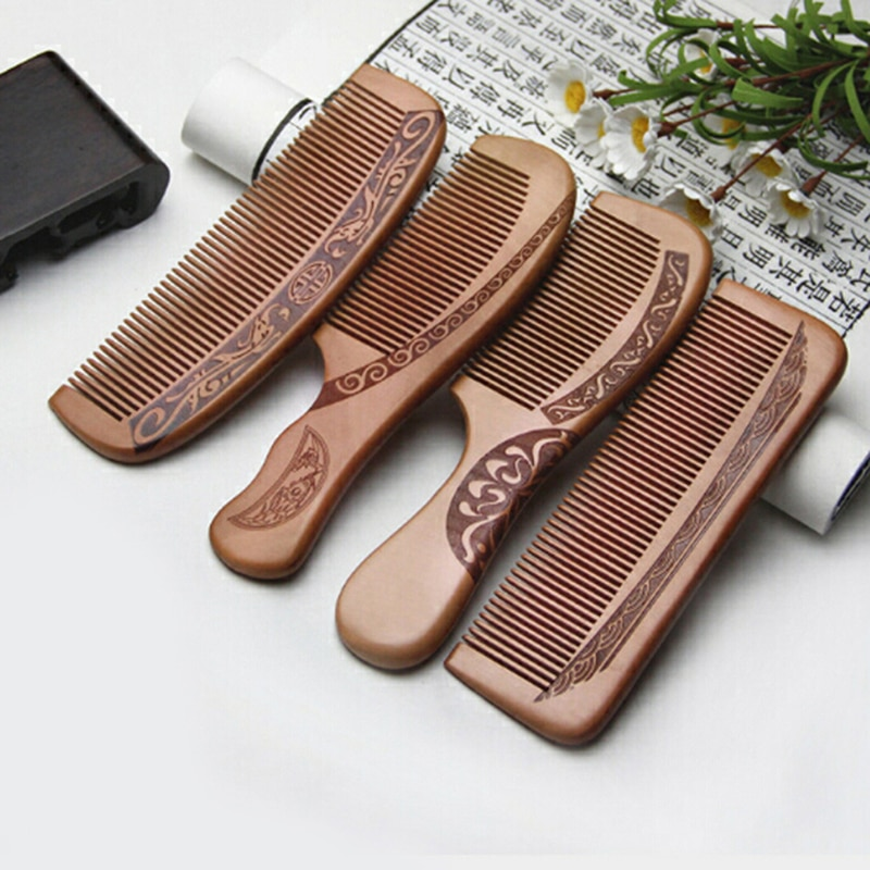Anti-Static Comb Natural Peach Solid Wood Engraved Healthy Massage Hair Care Tool Beauty Accessories