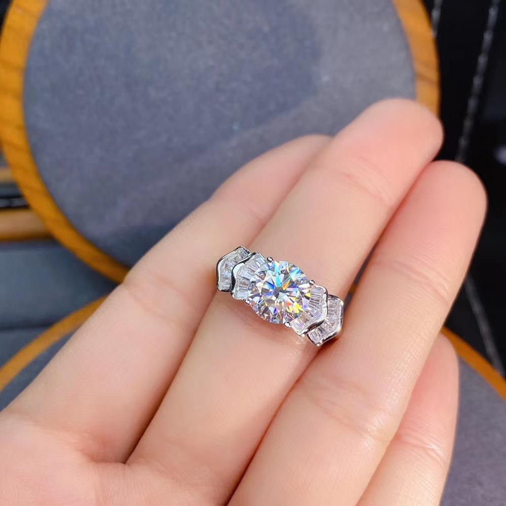 new style crackling moissanite ring for women jewelry engagement ring for wedding 925 silver ring shiny gem birthday gift