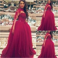 ball gown floor length formal dresses applique prom party gown beaded high neck dresses evening dress long sleeve