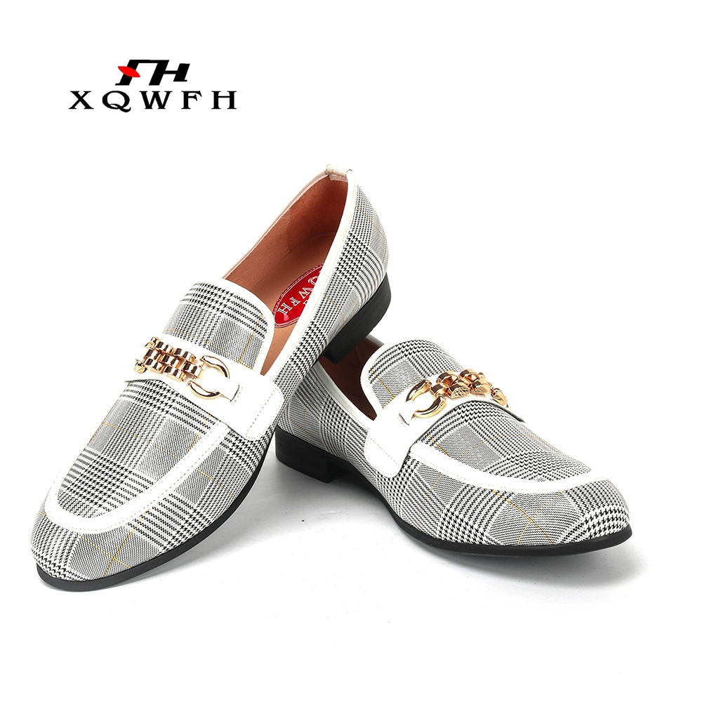XQWFH موضة حذاء رجالي كاجوال اليدوية المتسكعون مريحة تنفس الرجال فستان