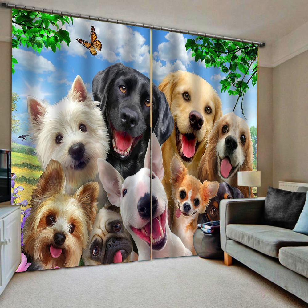 Animal Cortinas perro cortina 3D lujo opaca ventana cortina sala de estar Cortinas