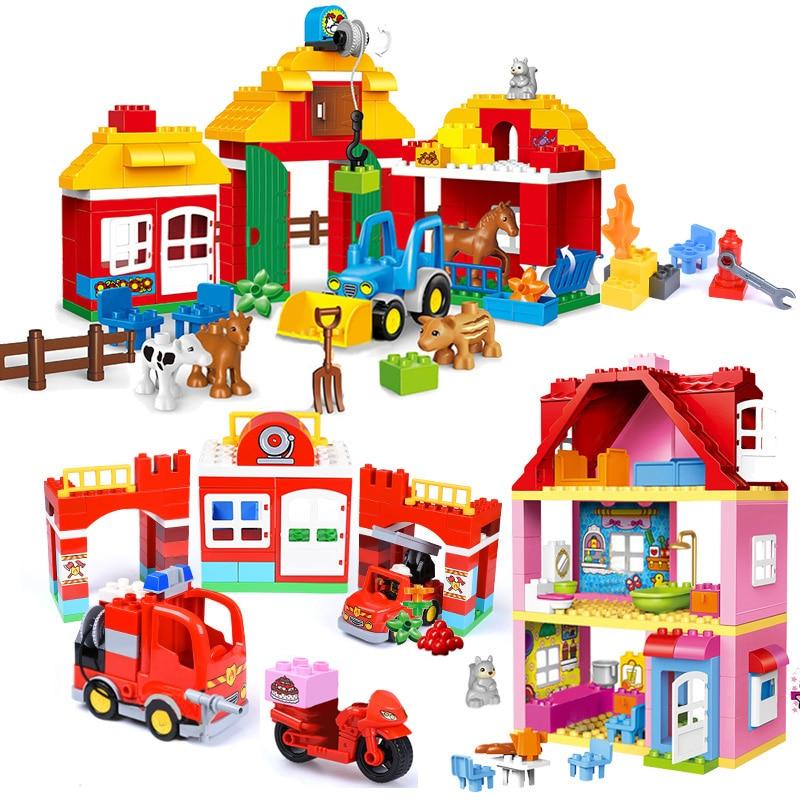 Городской большой размер, строительные блоки, набор, совместимые брендовые блоки, семейный дом, кирпичи для детей, сделай сам, обучающая мод...