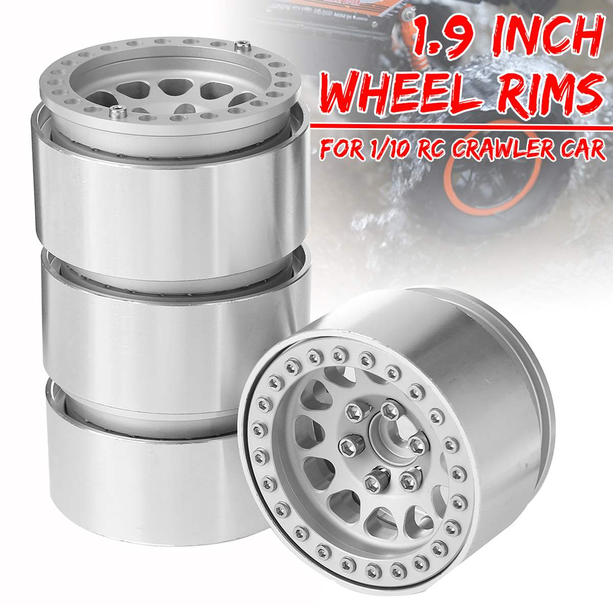 4 Pcs Aluminium Legierung 1,9 Zoll Beadlock Räder Felgen für 1/10 RC Crawler Auto Axial SCX10 SCX10 II 90046 Tamiya CC01 TRX4 D90