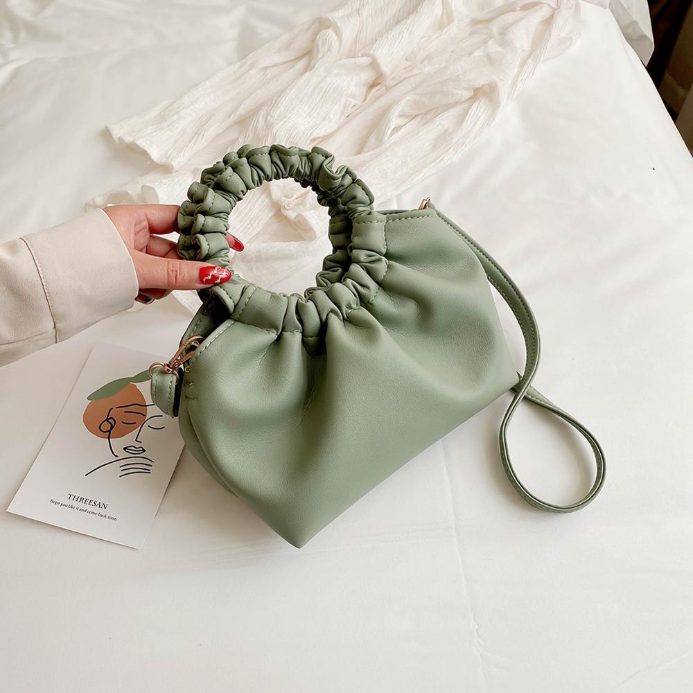 Round Handle Handbag Solid Color PU Leather Small Totes For Women 2020 Fashion Summer Crossbody Shoulder Messenger Handbags sac