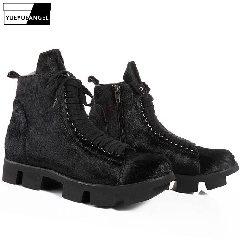 أحذية السلامة للرجال ذات المنصة ، أحذية الشتاء القوطية ، أحذية الكاحل من الجلد الطبيعي ، أحذية العمل برباط علوي