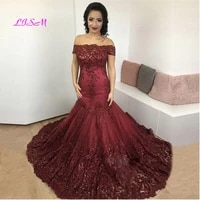 burgundy evening dresses mermaid lace appliques off the shoulder luxury evening gown 2020 elegant sweep train formal party dress