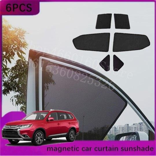 Puou 6 uds alta-personalizado para Mitsubishi Outlander 2016-2018 tipo de tarjeta Coche magnético cortina sombra de sol coche cortina de ventana carro styl