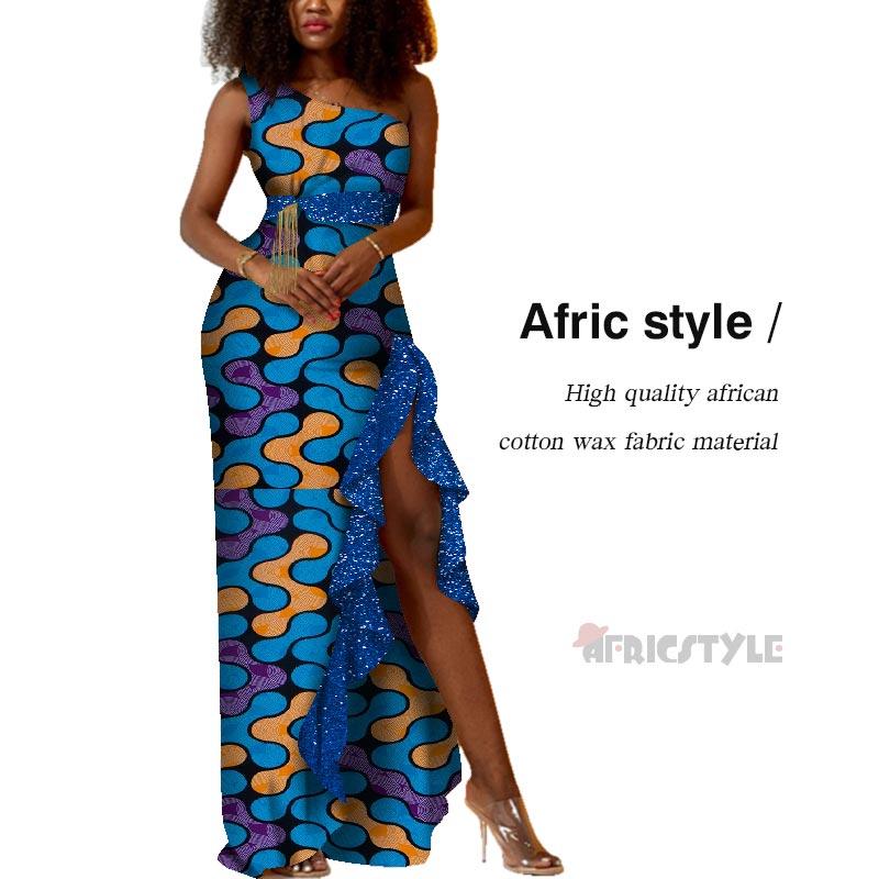 vefadisa plus size long dress graffiti print women dress 2020 lace patchwork summer asymmetrical dress white black qyf2690 2020 Summer Patchwork Asymmetrical Long Dress Bazin Riche African Print Dresses for Women Traditional African WY6169