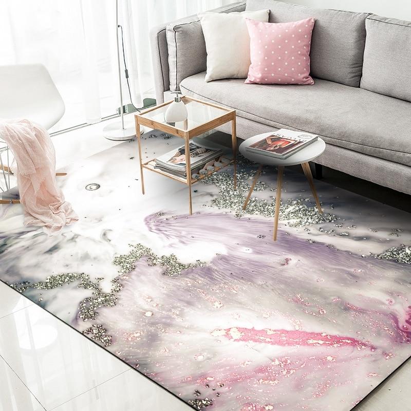 Abstract ouro pó tapetes sala de estar quarto das crianças rosa cinza área de mármore tapetes do quarto dos miúdos barraca de jogo antiderrapante tapetes