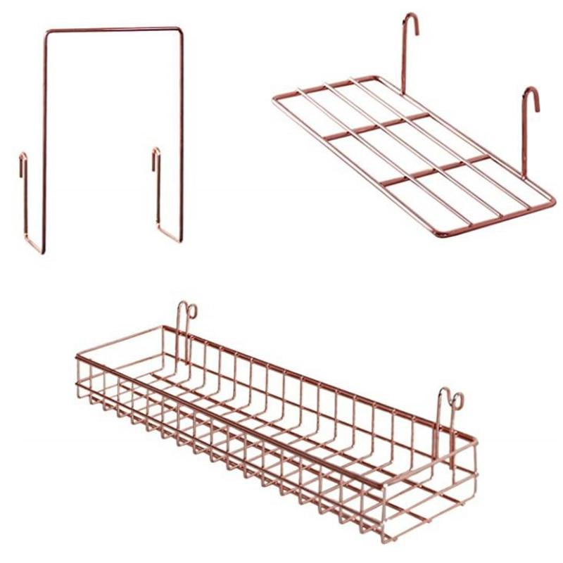 TOP 3 Pcs Rose Gold Grid Basket with Hooks Bookshelf Display Shelf for Wall Grid Panel Wall Mount Organizer and Storage Shelf Ra