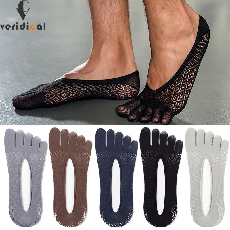 Летние невидимые носки с пятью пальцами, мужские тонкие бархатные Нескользящие сетчатые дышащие эластичные однотонные шелковые носки с па...