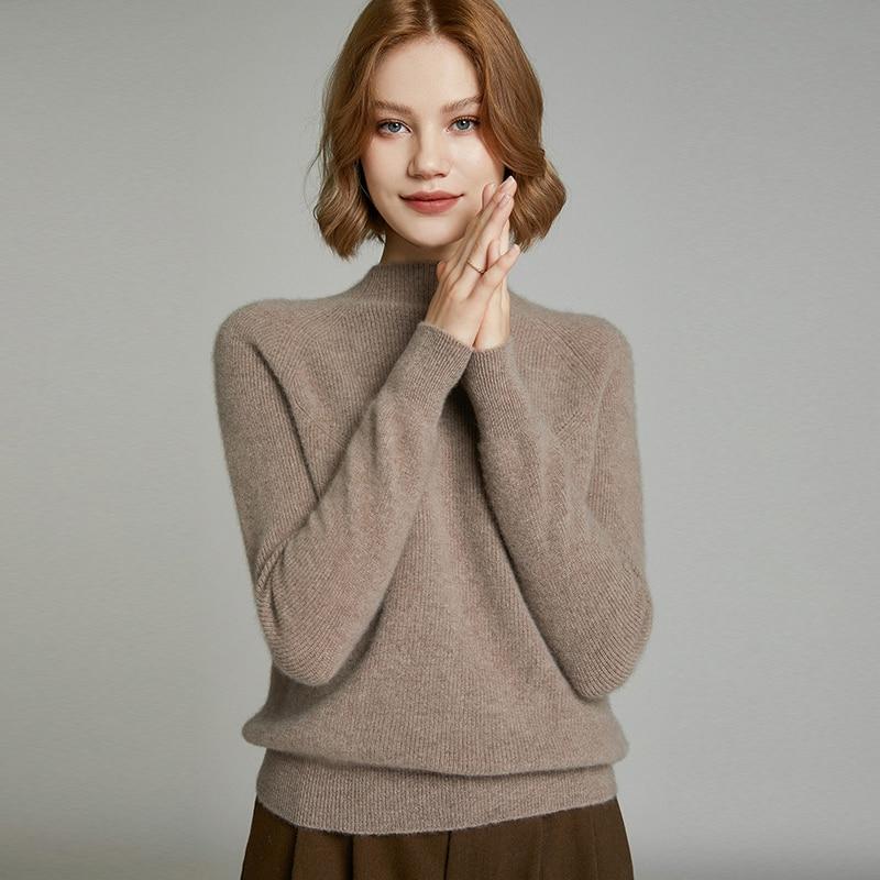 MeetMetro Women Sweater 35%Cashmere Pullover Women Autumn Knitted Sweater Winter Wool Sweaters Solid Jumper Women Korean Style enlarge