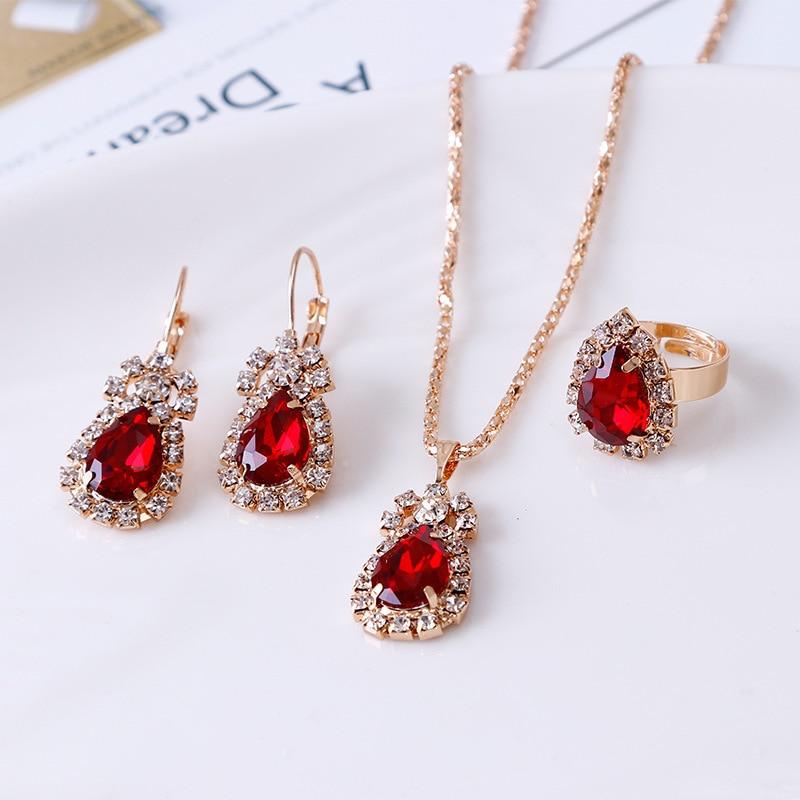 Boho conjuntos de joyas de moda de agua brillante collar con brillantes pendientes de anillo de compromiso regalo para las mujeres la cena accesorios de fiesta