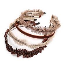 4pcs Charm Lace Embroidery Leaf Flower Hairband Women Girl Non-slip Hair Head Hoop Bands Accessories Mesh Yarn Thin Headband