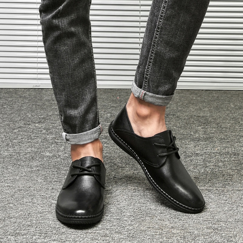 Men Genuine Leather Shoes Lace-Up Black oxfords Shoes cow Real Leather Mens Moccasins handmade Italian Designer Flats Shoes men