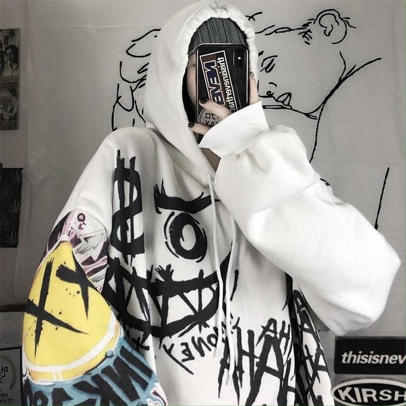 QWEEK جوث Harajuku هوديي الشرير أنيمي المتضخم البلوز الكتابة على الجدران هوديس المرأة الكرتون طباعة هوديي 2021 الشارع الشهير المرأة